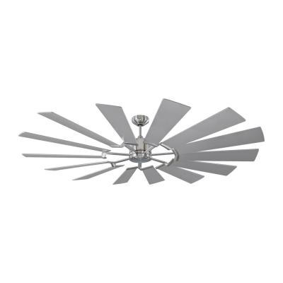 Prairie 72 in. Integrated LED Indoor/Outdoor Brushed Steel Ceiling Fan with Dual Washed Oak or Silver Blades and Remote