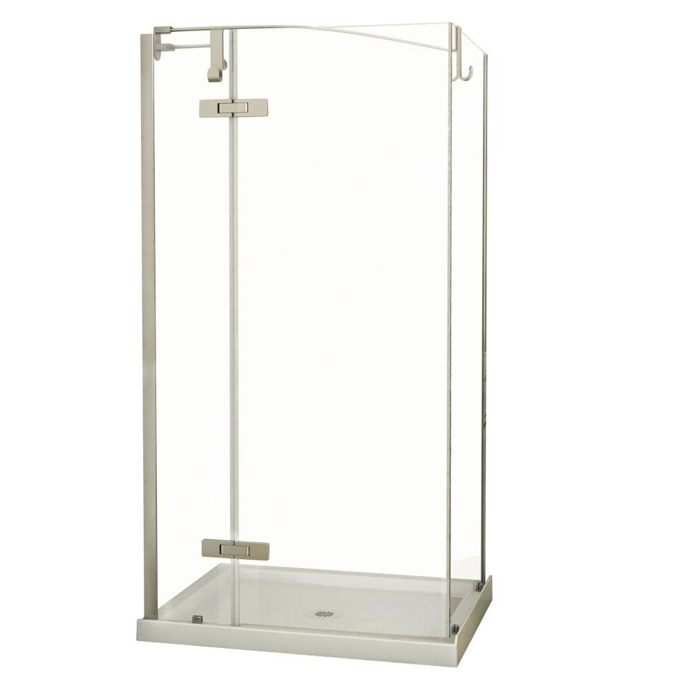 MAAX Urbano 34 in. x 42 in. x 81 in. Standard Fit Corner Shower Kit with Clear Glass in Stainless Steel-DISCONTINUED