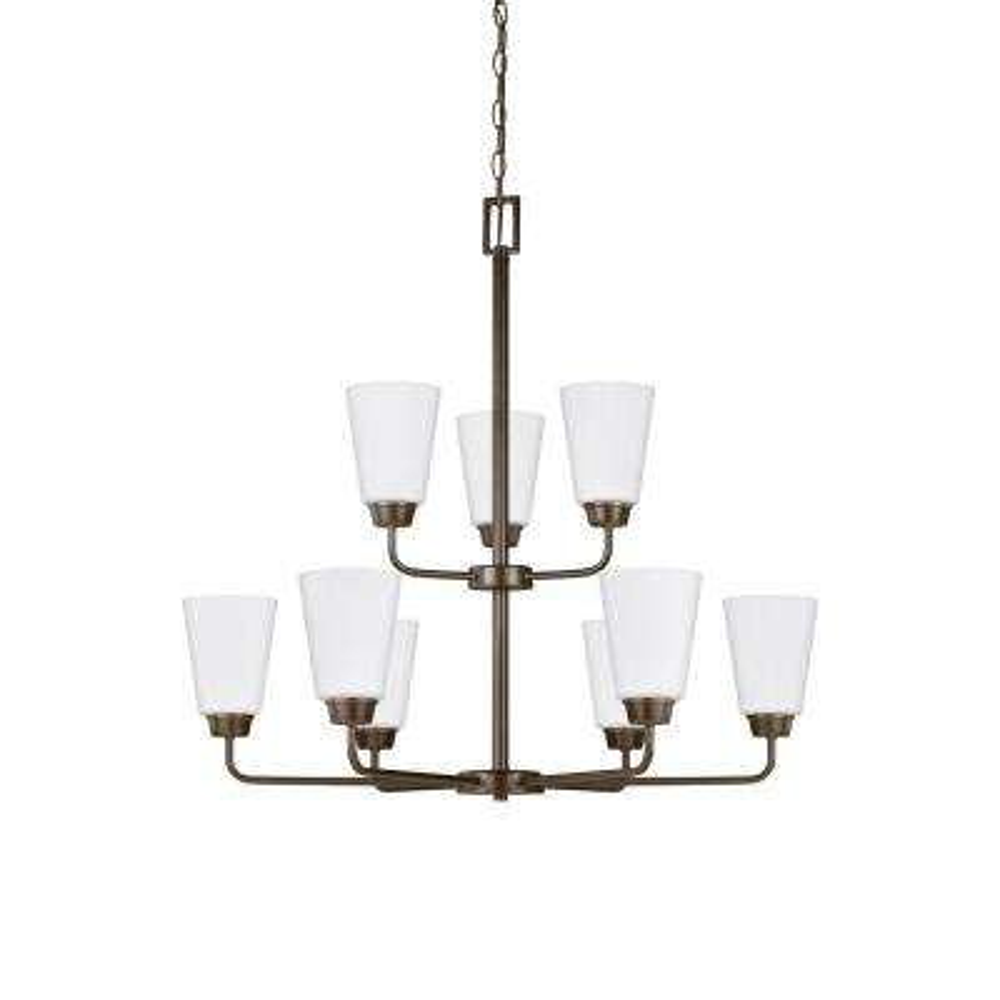 Kerrville 9-Light Heirloom Bronze Chandelier with LED Bulbs