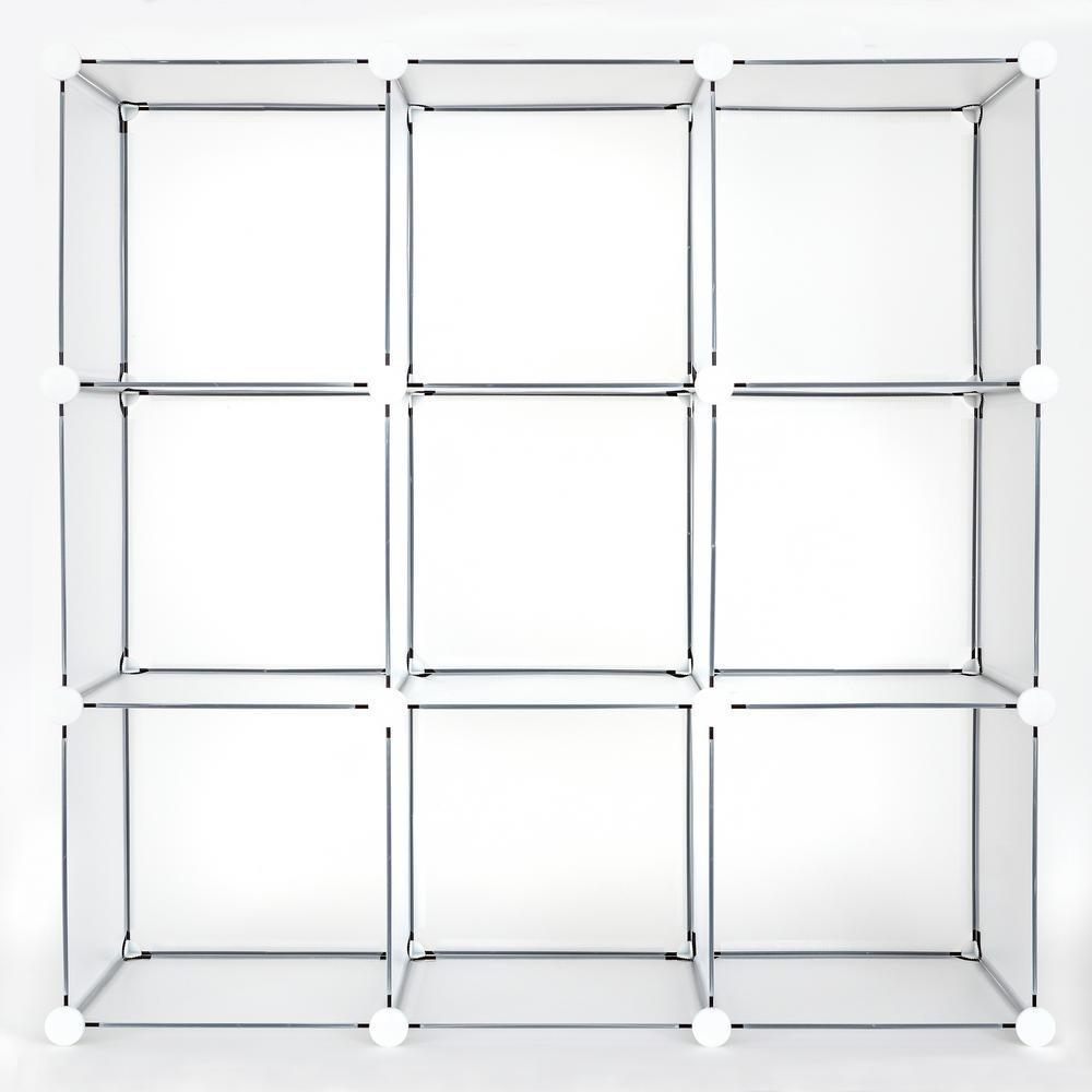 36 in. x 36 in. Clear Frost Stackable 9-Cube Organizer