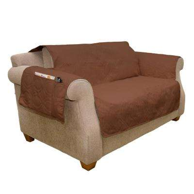 Non-Slip Brown Waterproof Love Seat Slipcover