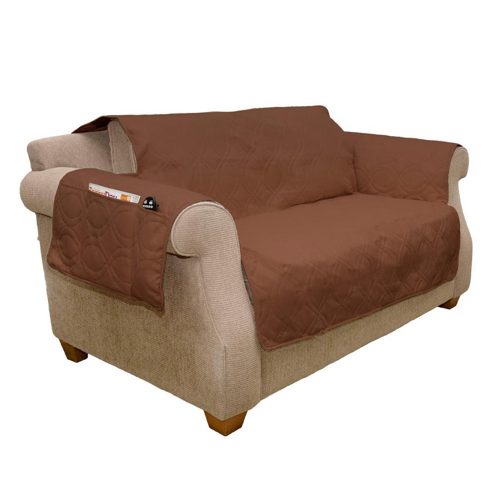 Non-Slip Brown Waterproof Love Seat Slipcover