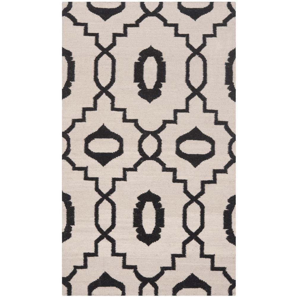 Dhurries Ivory/Black 3 ft. x 5 ft. Area Rug