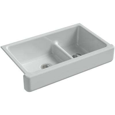 Whitehaven Smart Divide Undermount Farmhouse Short Apron-Front Cast Iron 36 in. Double Basin Kitchen Sink in Ice Grey
