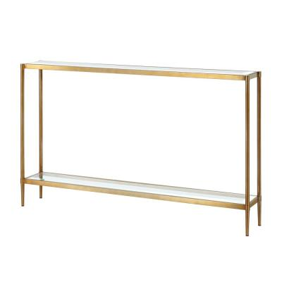 30 in. Gold Metal Legs Rectangle Console Table with Glass Table Top and Storage Shelf