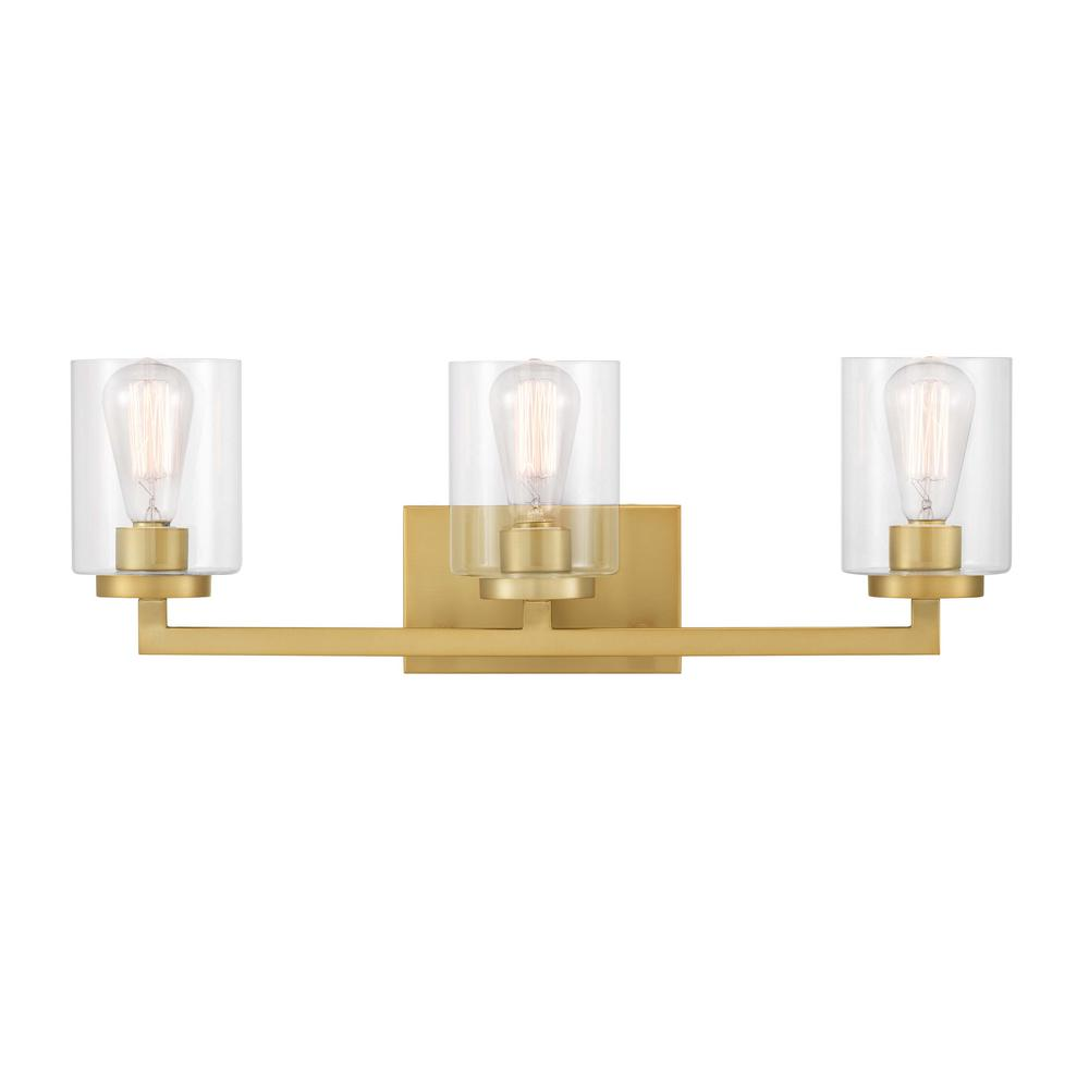 Home Decorators Collection Westlyn 7.875 in. 3-Light Brushed Brass Vanity Light with Clear Optic Glass Shades