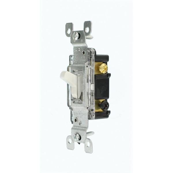 15 Amp Residential Grade 3-Way Lighted Toggle Switch, White