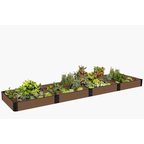 Tool-Free  4 ft. x 16 ft. x 11 in. Uptown Brown Composite Raised Garden Bed - 1 in. profile