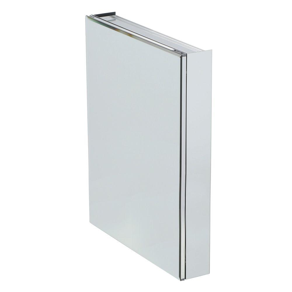Pegasus 24 in. W x 30 in. H x 5 in. D Frameless Recessed or Surface-Mount Bathroom Medicine Cabinet with Beveled Mirror