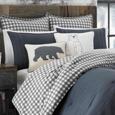 Kingston Gray Plaid Reversible Duvet Cover Set
