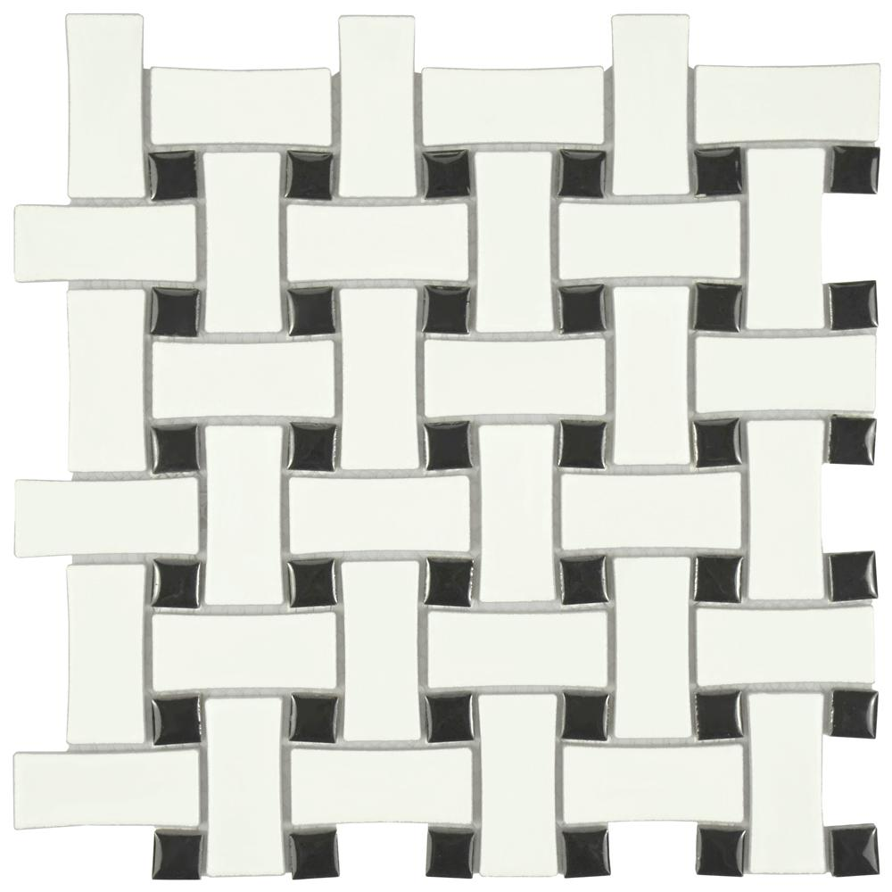 Merola Tile Metro Basket Weave Matte White and Black 10-1/2 in. x 10 ...