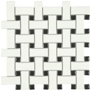 Merola Tile Metro Basket Weave Matte White And Black 10 1