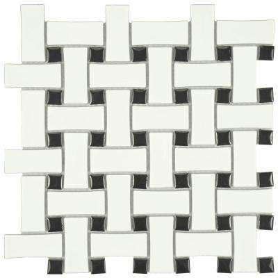 Metro Basket Weave Matte White And Black 10 1/2 In. X 10