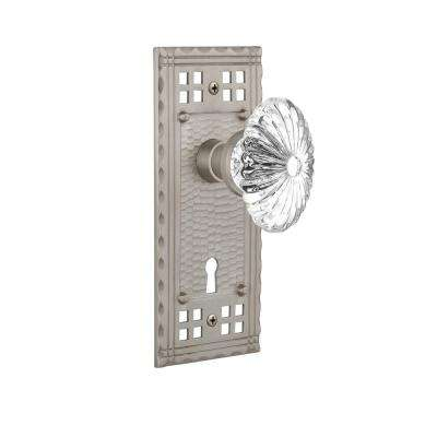 Craftsman Plate with Keyhole Single Dummy Oval Fluted Crystal Glass Door Knob in Satin Nickel