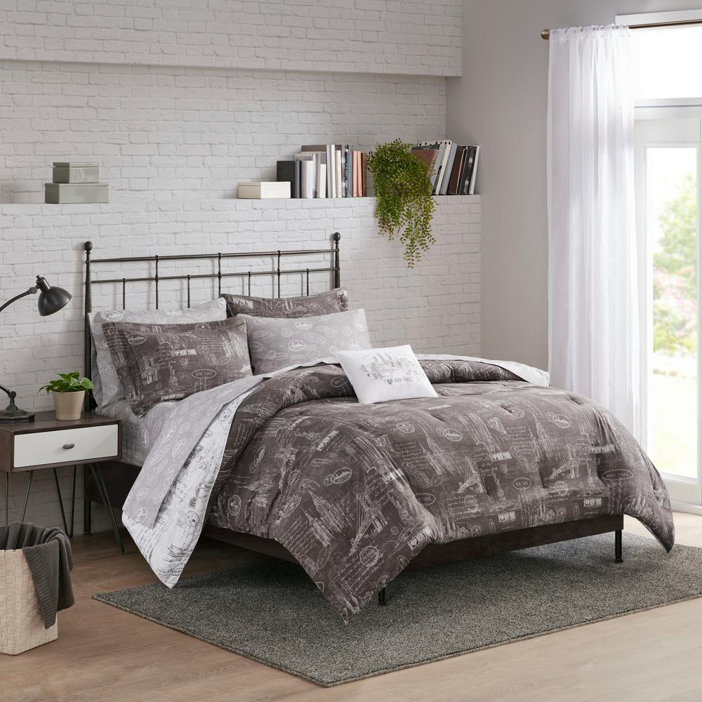 Manhattan 8 Piece Black Multi Microfiber California King Bed in a Bag Reversible Complete Bedding Set