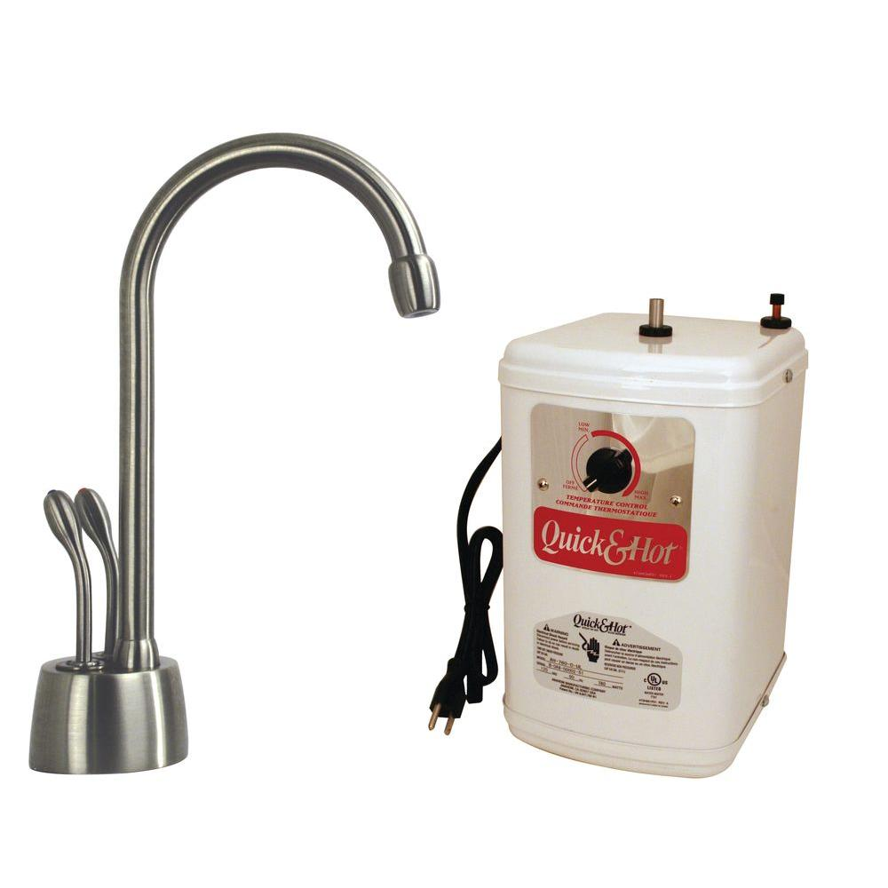 Westbrass Develosah 2-Handle Hot Water Dispenser Faucet with Hot Water Tank in Satin Nickel