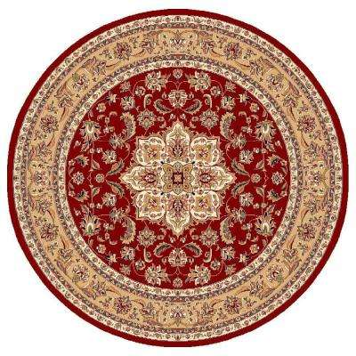 Classic Medallion Red 7 ft. 7 in. x 7 ft. 7 in. Round Area Rug