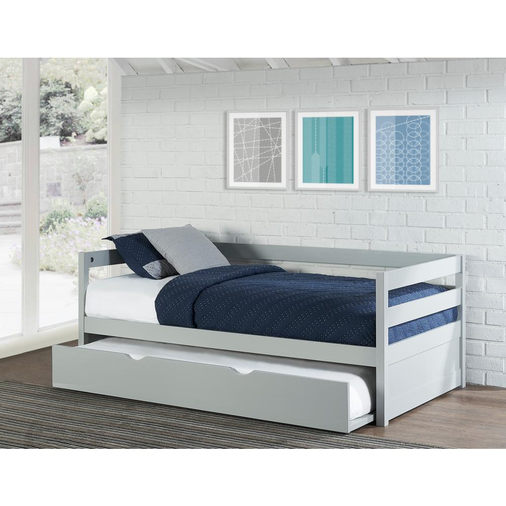 Hilale Furniture Caspian Gray Twin Daybed With Trundle