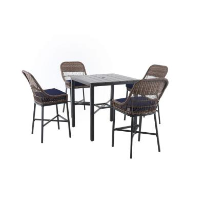 Beacon Park 5-Piece Brown Wicker Outdoor Patio High Dining Set with CushionGuard Midnight Navy Blue Cushions