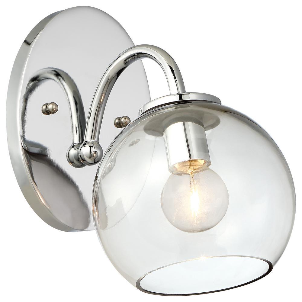 Exposed 1-Light Chrome Bath Light