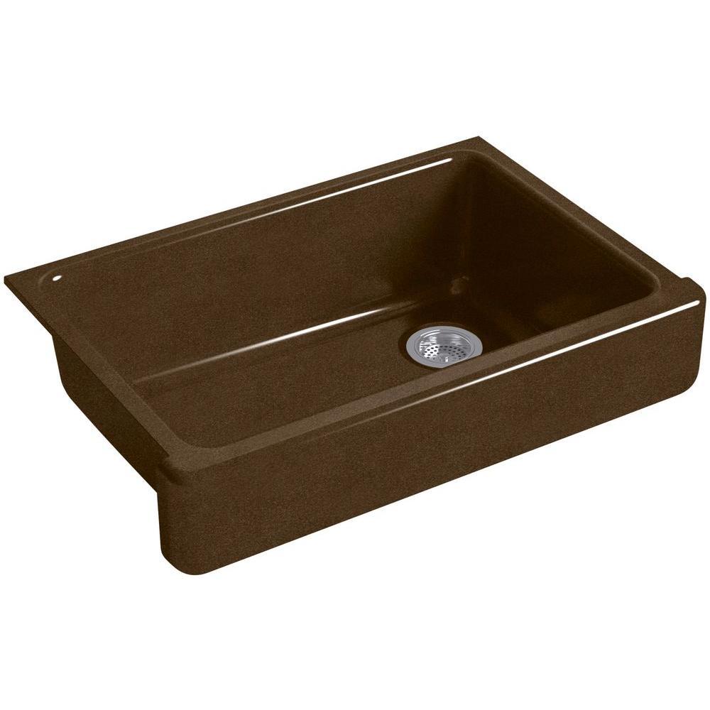 Whitehaven Undermount Farmhouse Apron-Front Cast Iron 33 in. Single Basin Kitchen Sink in Black 'n Tan