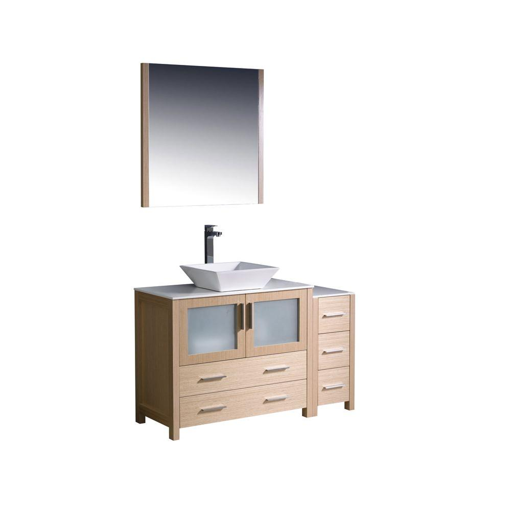 Fresca Torino 48 In Vanity In Light Oak With Glass Stone