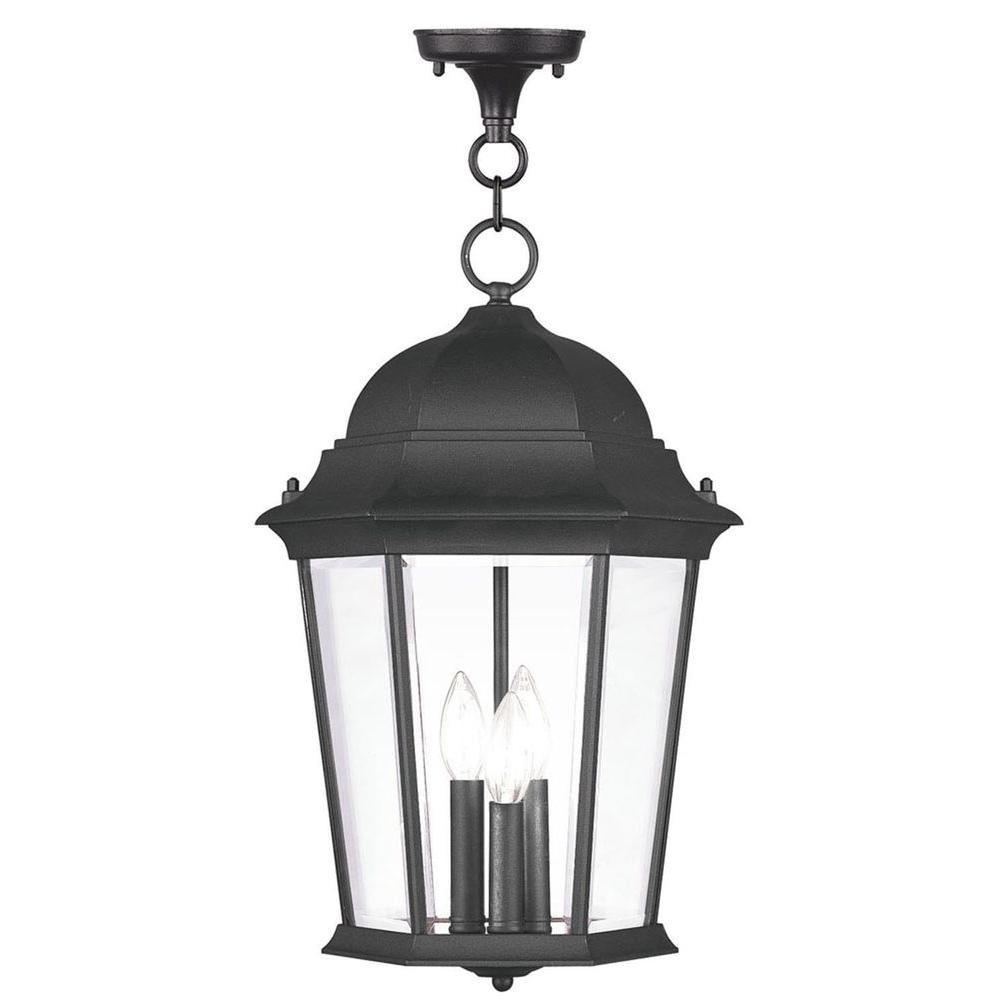 Providence 3-Light Black Outdoor Incandescent Pendant Light