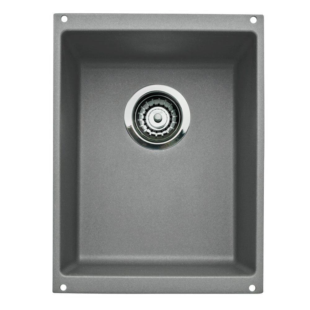 Blanco Precis Medium Undermount Granite Composite 13.75 In. Single Bowl  Kitchen Sink In Metallic Gray