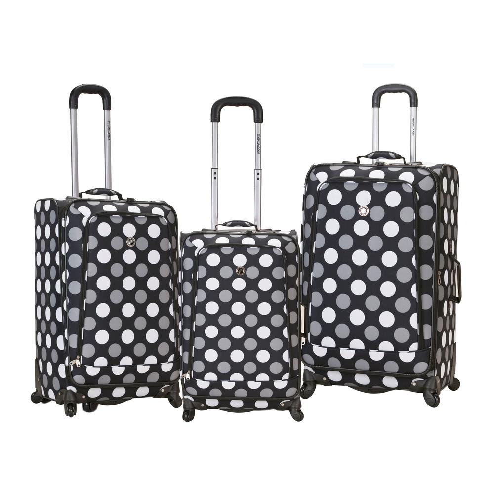 Rockland Fusion 3-Piece Luggage Set, Blackdot
