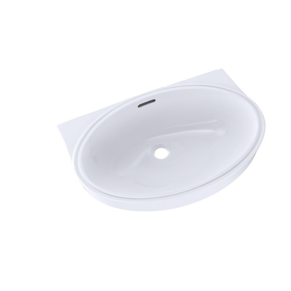 Toto 22 In Oval Undermount Bathroom Sink With Cefiontect In Cotton White Lt548g 01 The Home Depot