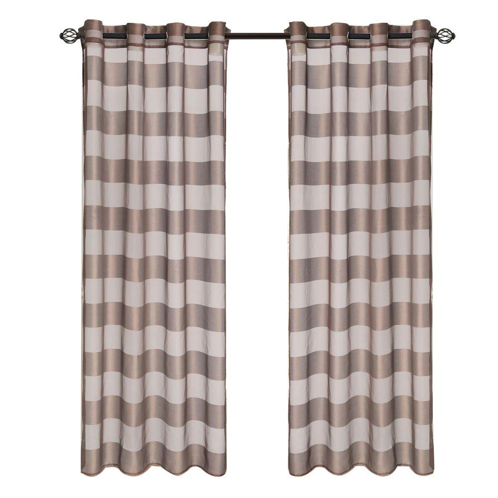 Lavish Home Coffee Sofia Grommet Curtain Panel 95 In Length 63 95t096 Co The Home Depot
