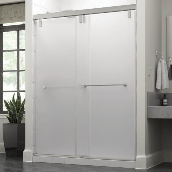 Everly 60 x 71-1/2 in. Frameless Mod Soft-Close Sliding Shower Door in Chrome with 3/8 in. (10mm) Niebla Glass