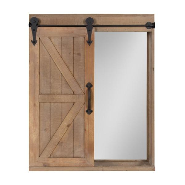 Kate and Laurel Cates Rectangle Rustic Brown Accent Mirror 212513