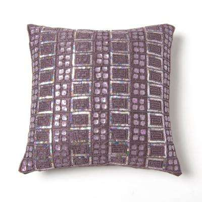 Mother of Pearl and Sequin Purple Pillow