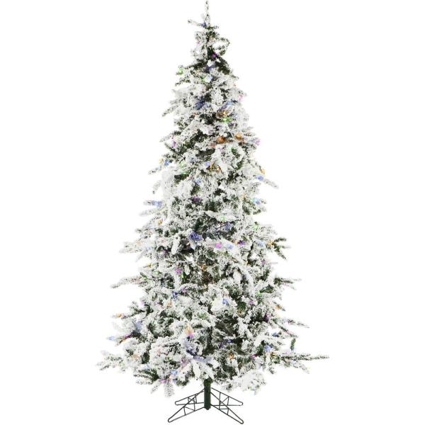 7.5 ft. White Pine Snowy Artificial Christmas Tree with Multi-Color LED String Lighting and Holiday Soundtrack