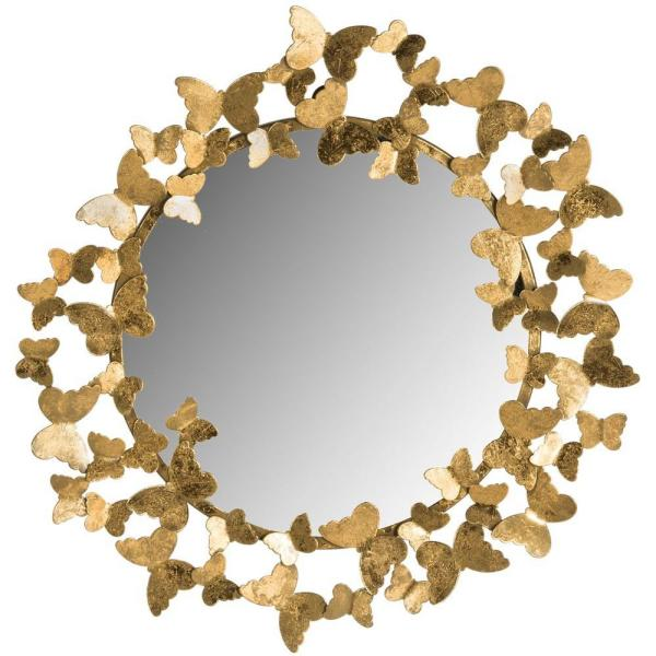 Ruthie Butterfly 27 in. x 27 in. Round Framed Mirror