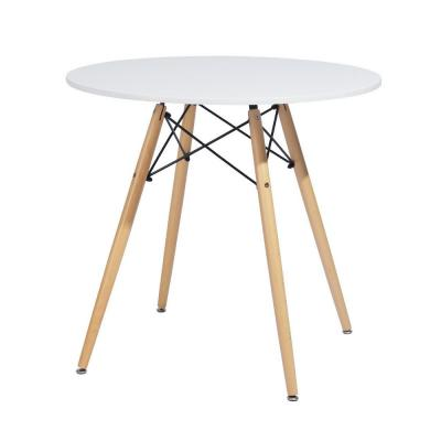 Chad White Top Beech Legs Round Dining Table