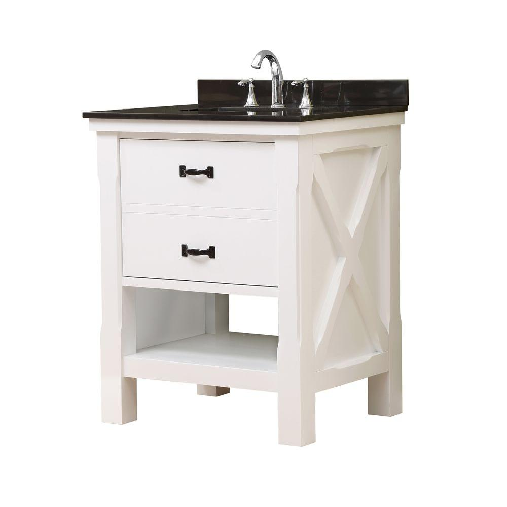 Direct vanity sink Xtraordinary Spa 32 in. Vanity in White with Granite Vanity Top in Black with White Basin