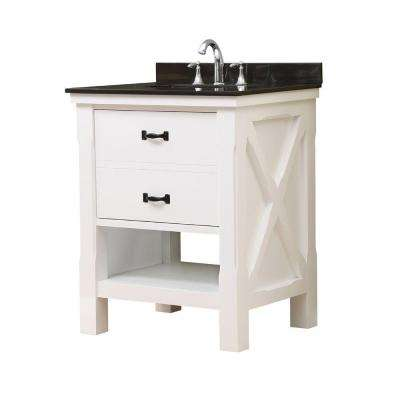 Xtraordinary Spa 32 in. Vanity in White with Granite Vanity Top in Black with White Basin