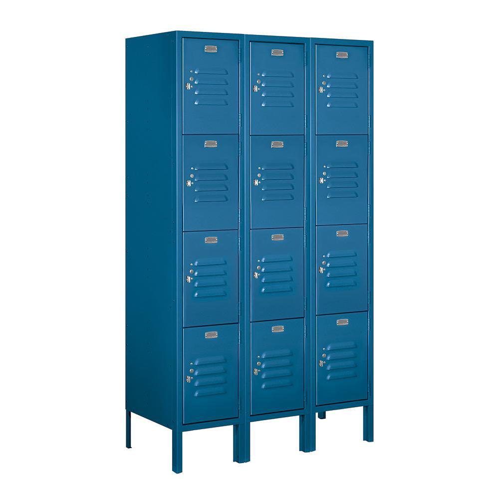 64000 Series 4-Tier 36 in. W x 66 in. H x 15 in. D Metal Locker Ready to Assemble in Blue