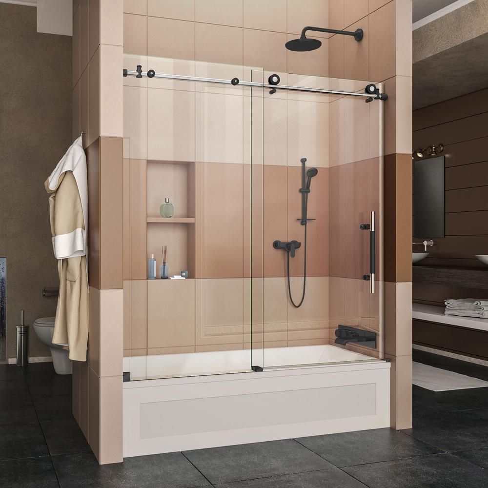 DreamLine Enigma-XT 56-59 in. W x 62 in. H Frameless Sliding Tub ...