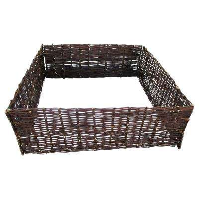 48 in. W x 48 in. L x 12 in. H, Brown Woven Willow Raised Bed Kit