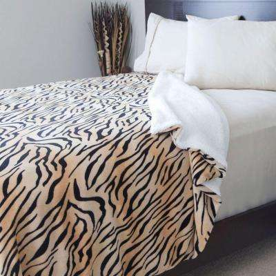 Tiger Print Fleece/Sherpa Polyester Twin Blanket