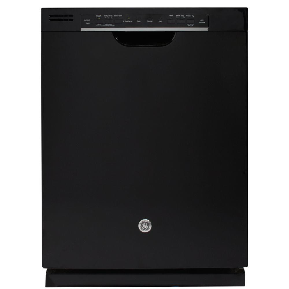 GE Front Control Dishwasher in Black with Steam Cleaning