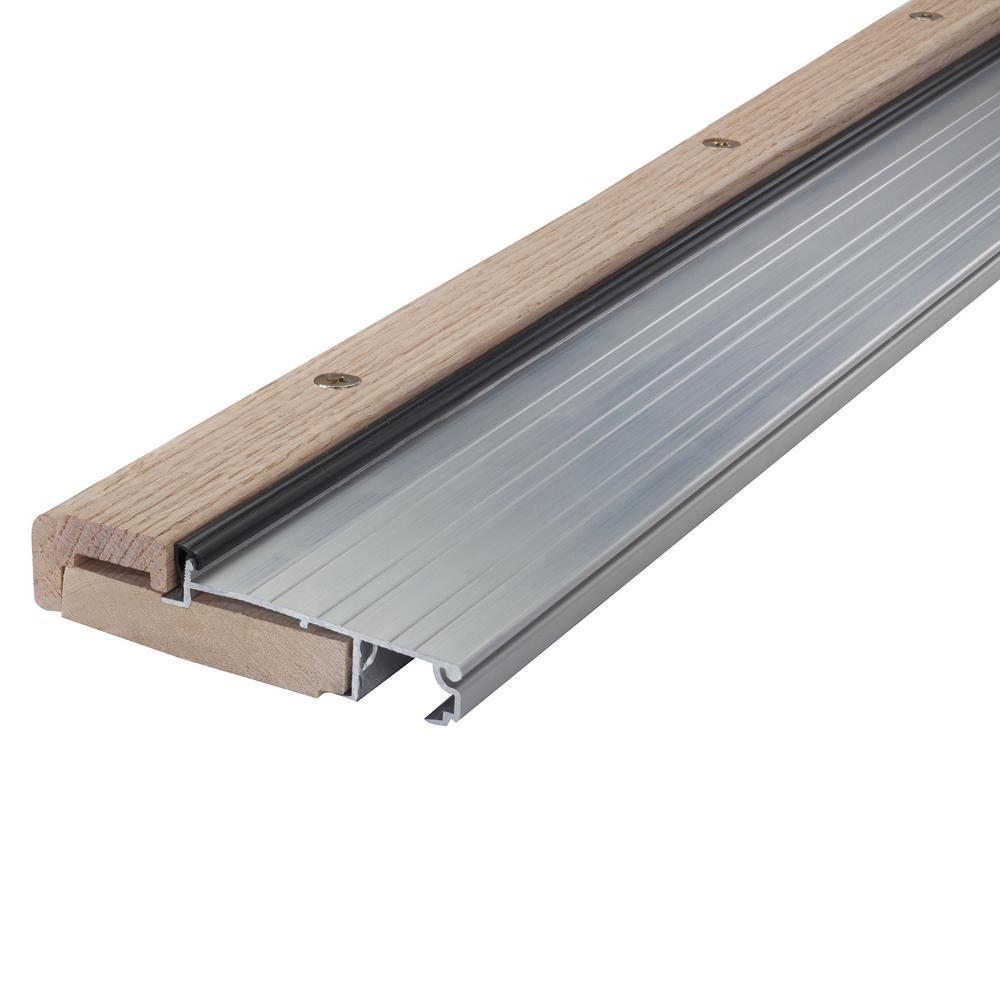 4-9/16 in. x 36 in. Satin Aluminum and Oak Adjustable Threshold