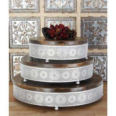 Metallic Silver Round Decorative Trays with Circular Details (Set of 3)