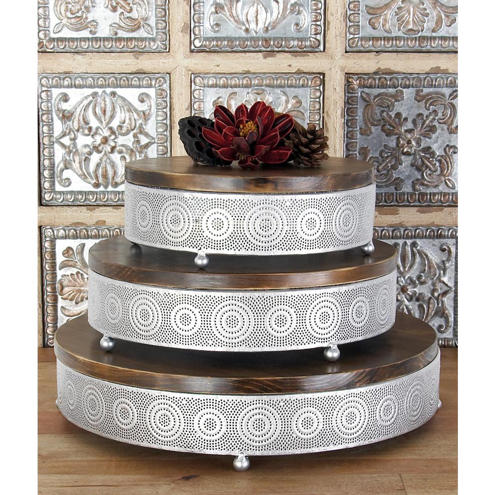 Litton Lane Metallic Silver Round Decorative Trays with Circular Details (Set