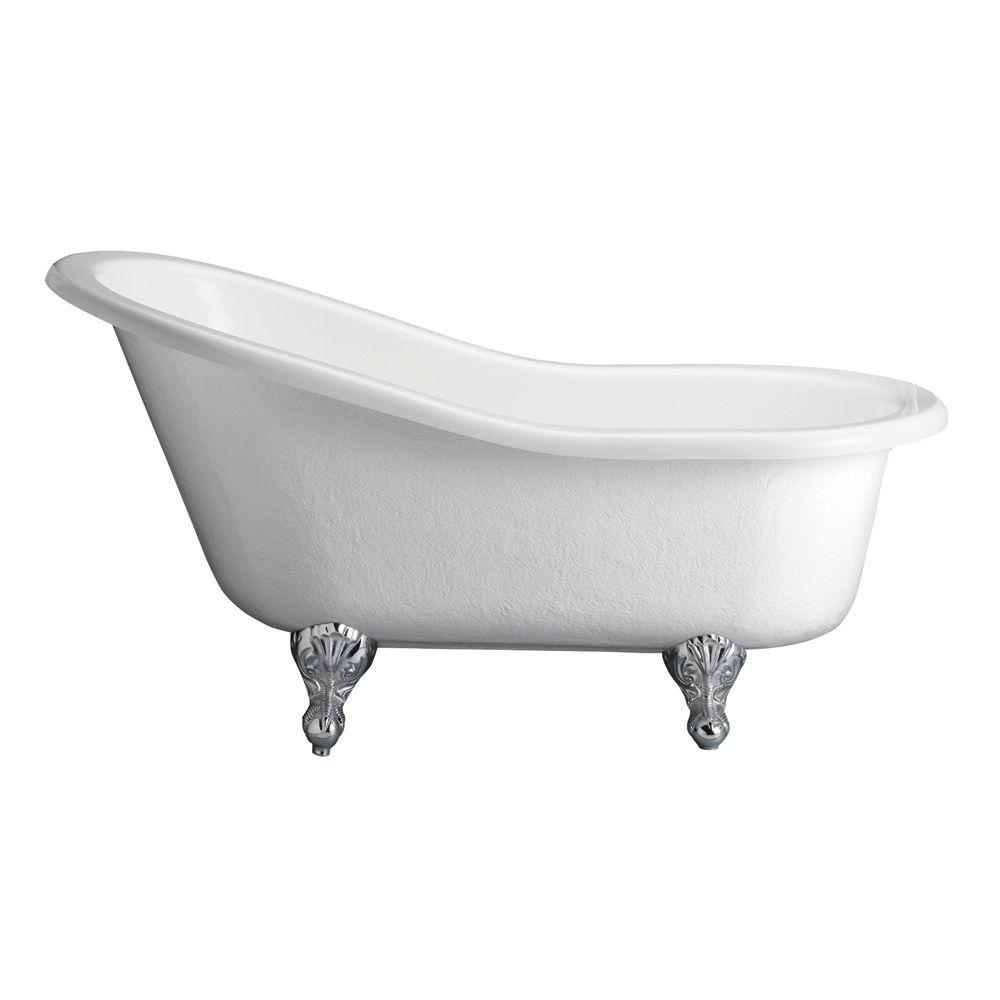 Pegasus 5 ft. Acrylic Ball and Claw Feet Slipper Tub in Bisque