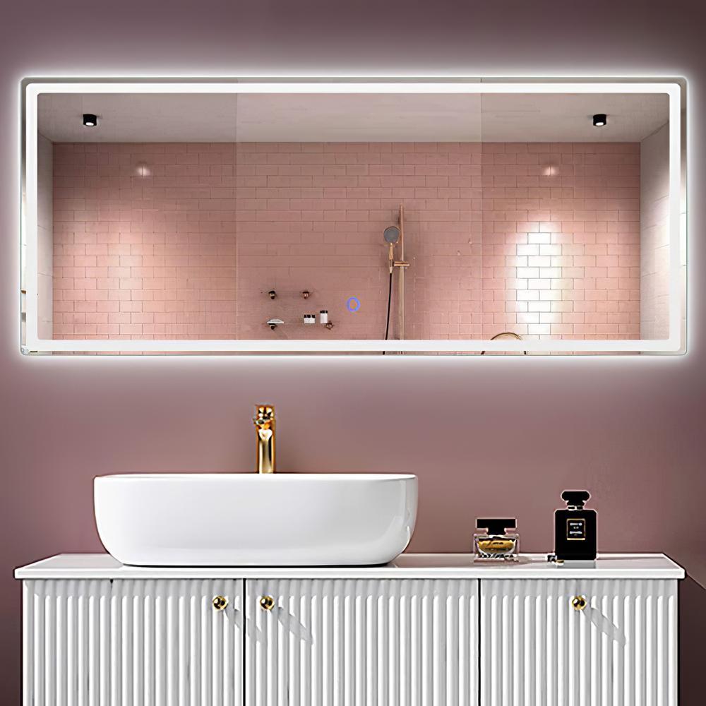 59 in. x 23.6 in. Modern LED Rectangle Unframed Modern Full Length Vanity Mirror Wall Mounted In Bathroom