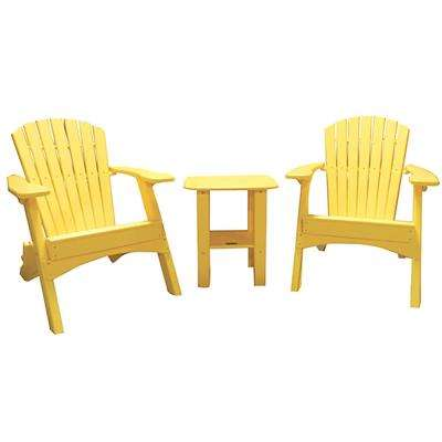 Yellow 3-Piece Poly-Lumber Folding Patio Conversation Set